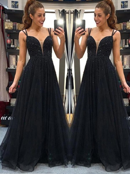 A-Line/Princess Sleeveless Beading Tulle Spaghetti Straps Floor-Length Dresses