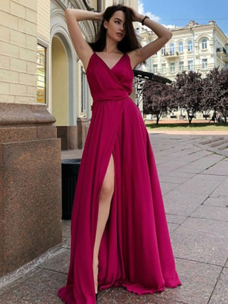 A-Line/Princess Sleeveless Ruffles Satin Chiffon Spaghetti Straps Sweep/Brush Train Dresses