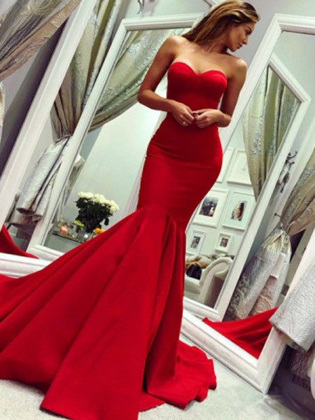 Trumpet/Mermaid Sleeveless Ruffles Satin Strapless Court Train Dresses