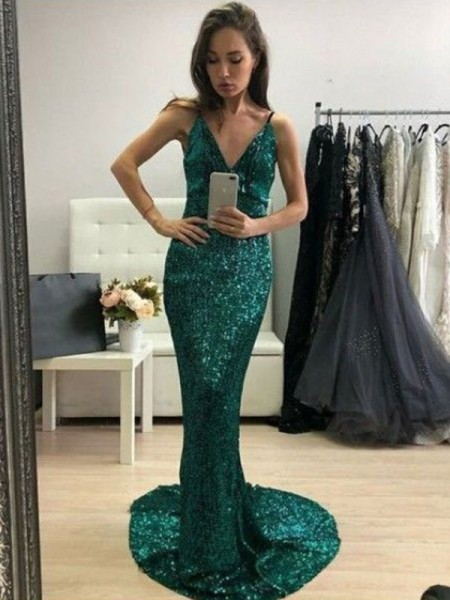 Trumpet/Mermaid V-neck Sequins Ruffles Sweep/Brush Train Sleeveless Dresses