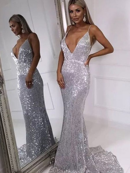 Trumpet/Mermaid Ruffles V-neck Sweep/Brush Train Sequins Sleeveless Dresses