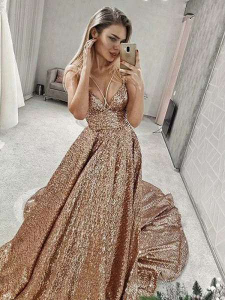 A-Line/Princess Sleeveless Sequins Spaghetti Straps Ruffles Court Train Dresses