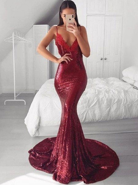 Trumpet/Mermaid V-neck Sleeveless Sequins Applique Sweep/Brush Train Dresses