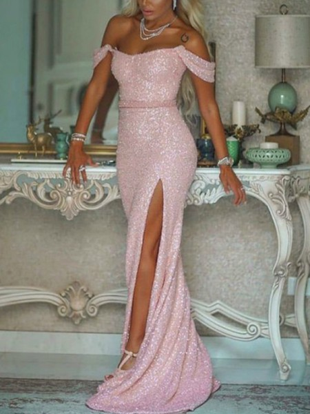 Trumpet/Mermaid Off-the-Shoulder Sequins Sash/Ribbon/Belt Sweep/Brush Train Sleeveless Dresses