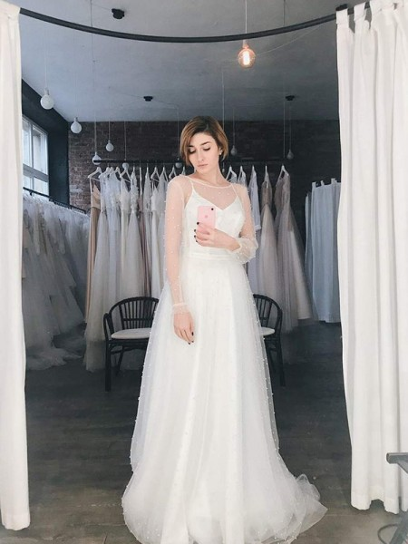 A-Line/Princess Beading Long Sleeves Scoop Sweep/Brush Train Tulle Wedding Dresses