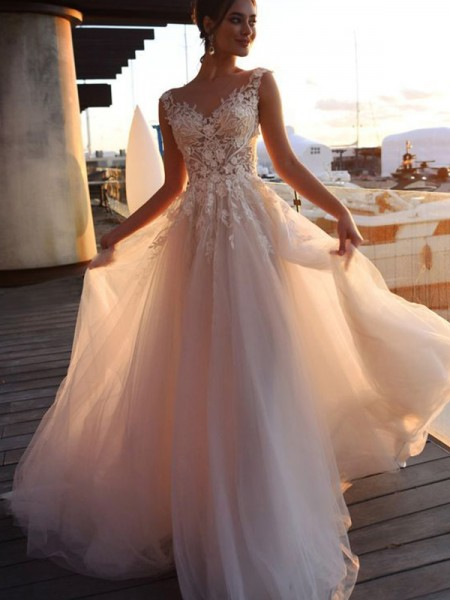 A-Line/Princess Applique Tulle Short Sleeves Sweep/Brush Train Bateau Wedding Dresses