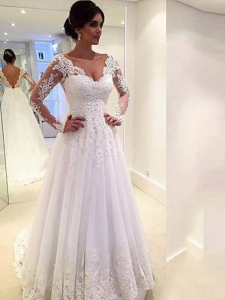 Ball Gown Tulle Long Sleeves Lace V-neck Long Wedding Dresses