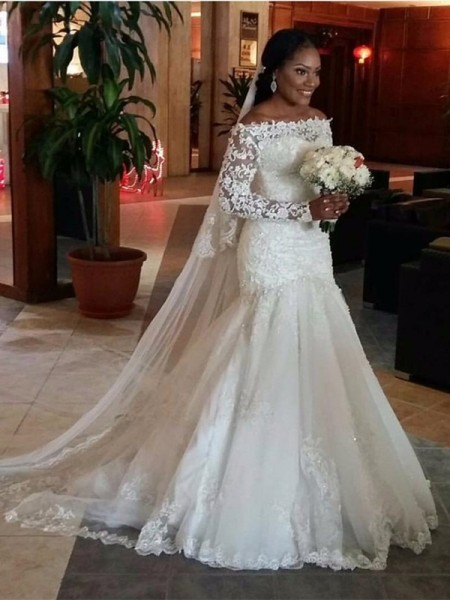 Trumpet/Mermaid Tulle Long Sleeves Lace Off-the-Shoulder Long Wedding Dresses