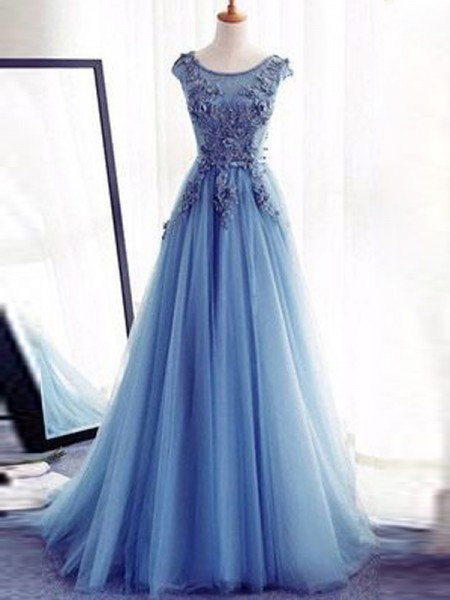 Ball Gown Tulle Sleeveless Applique Jewel Long Dresses