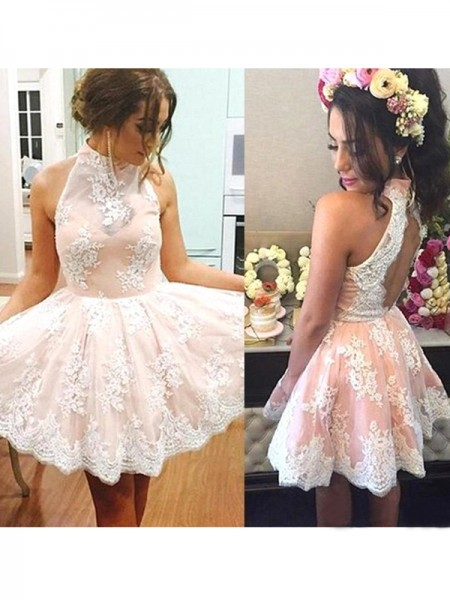 A-Line/Princess High Neck Lace Short/Mini Dress