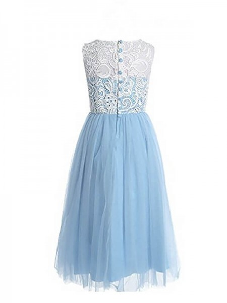 A-Line/Princess Lace Jewel Sleeveless Tulle Ankle-Length Flower Girl Dresses
