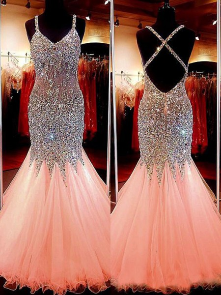 Trumpet/Mermaid Tulle Sleeveless Sequin V-neck Long Dresses