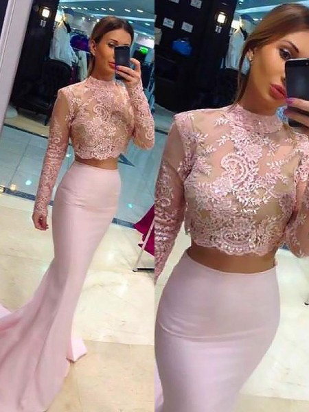 Sheath/Column Sweep/Brush Train High Neck Satin Two Piece Dress with Lace