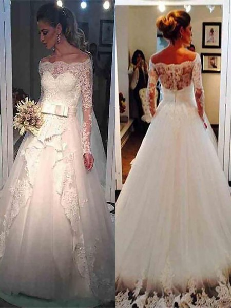 Ball Gown Off-the-Shoulder Long Sleeves Tulle Long Wedding Dresses