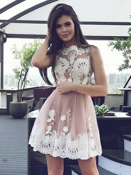 A-line/Princess Scoop Lace Sleeveless Chiffon Short Dresses