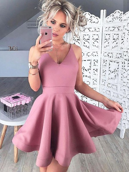 A-line/Princess V-neck Sleeveless Satin Short Dresses