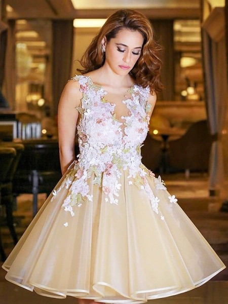 A-line/Princess Scoop Sleeveless Organza Short Dresses