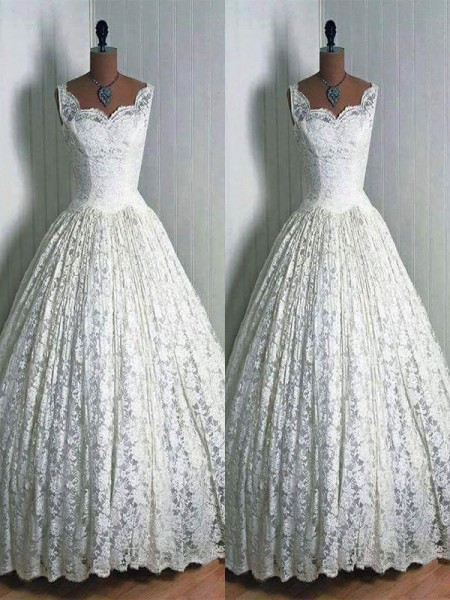 Ball Gown Sweetheart Sleeveless Lace Long Wedding Dresses