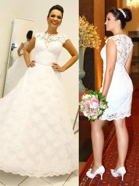 Ball Gown Scoop Sleeveless Lace Long Wedding Dresses
