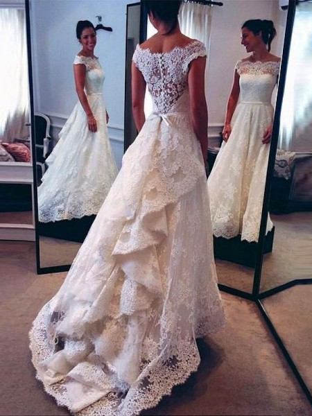 A-Line/Princess Scoop Sleeveless Lace Court Train Wedding Dresses