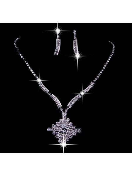 Stunning Alloy Czech Rhinestones Wedding Necklaces Earrings Set