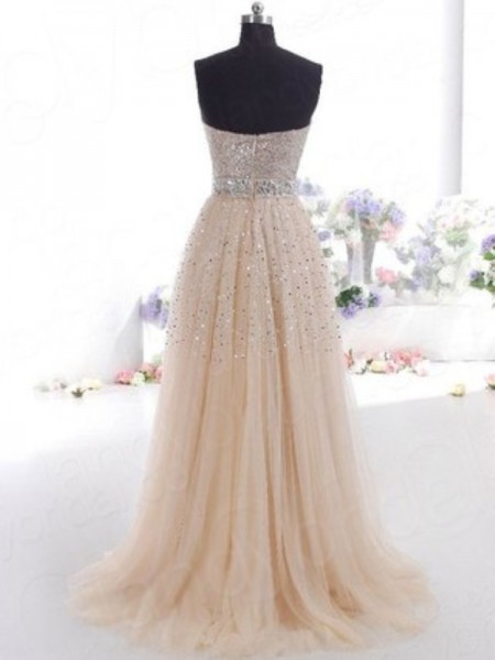 A-Line/Princess Sweetheart Sleeveless Tulle Long Dress