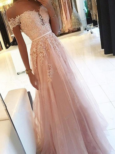A-Line/Princess Tulle Applique Sleeveless Off-the-Shoulder Long Dresses