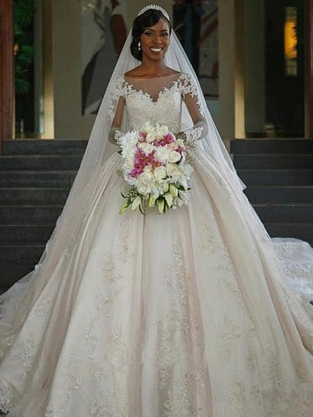 Ball Gown Satin Applique Long Sleeves Bateau Long Wedding Dresses