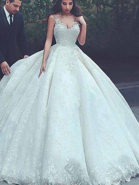 Ball Gown Tulle Lace Sleeveless Spaghetti Straps Long Wedding Dresses