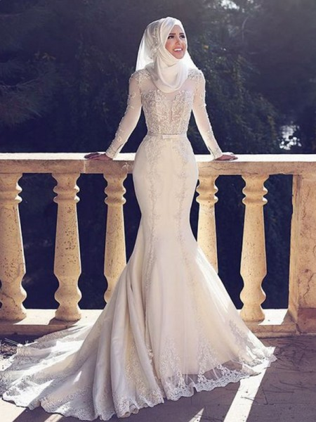 Trumpet/Mermaid Tulle Lace Long Sleeves Jewel Long Wedding Dresses