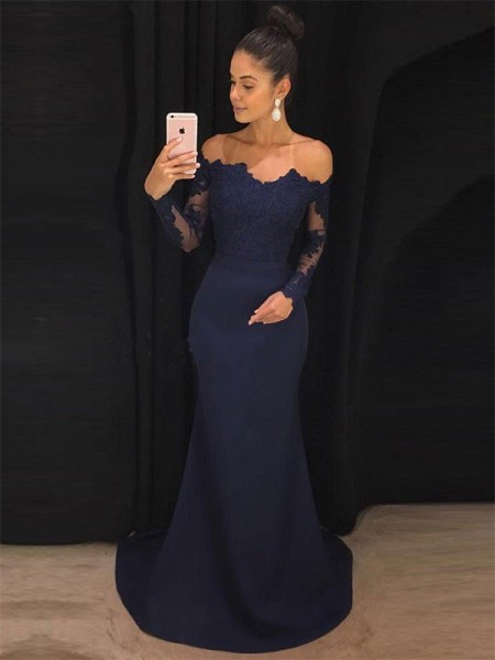 Trumpet/Mermaid Satin Lace Long Sleeves Off-the-Shoulder Long Dresses