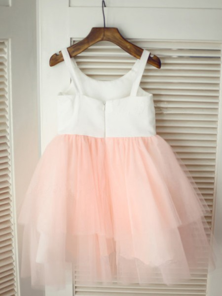 A-Line/Princess Spaghetti Straps Hand-Made Flower Sleeveless Tulle Tea-Length Flower Girl Dresses