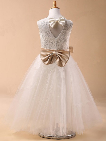 Ball Gown Jewel Bowknot Sleeveless Tulle Tea-Length Flower Girl Dresses